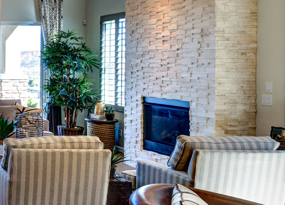 Stacked Stone Fireplace - Dorn Homes in Prescott